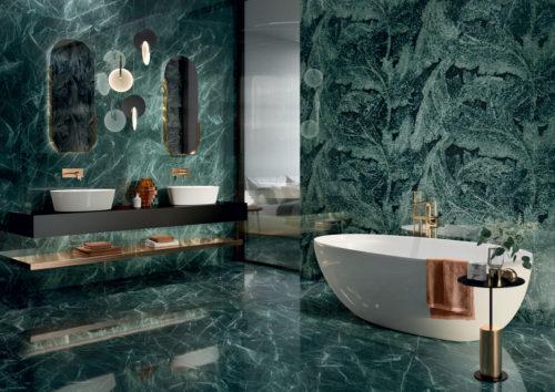 Tele di Marmo Revolution Verde Acanto in ambientazione bagno